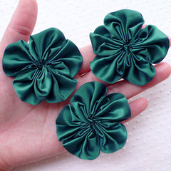 Satin Ribbon Ruffle Flowers / Fabric Floral Applique (3pcs / 5.5cm / Dark Green) Baby Flower Hairbows Head Bands DIY Shoe Decoration B172