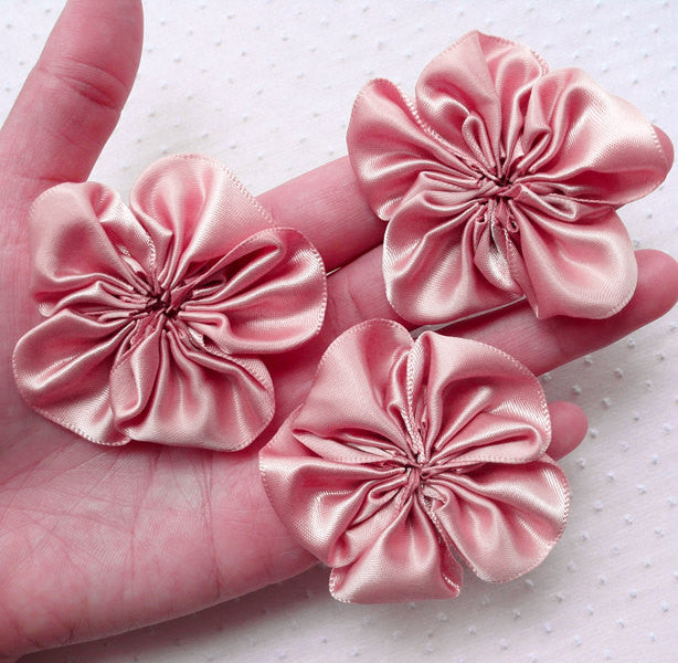 Pink Satin Ribbon Flowers / Fabric Ruffle Flower Applique (3pcs / 5.5cm / Dusty Pink) Baby Floral Headbands Hair Bows Flower Brooch DIY B174