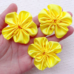 Satin Flowers / Satin Ribbon Ruffle Flower / Fabric Applique (3pcs / 5cm / Yellow) Baby Floral Headbands Hairbows DIY Flower Decoration B177