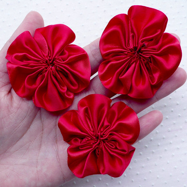 Ruffle Fabric Flower Applique / Satin Ribbon Flowers (3pcs / 5.5cm / Wine Red) Baby Hair Flower Headbands DIY Invitation Card Making B178