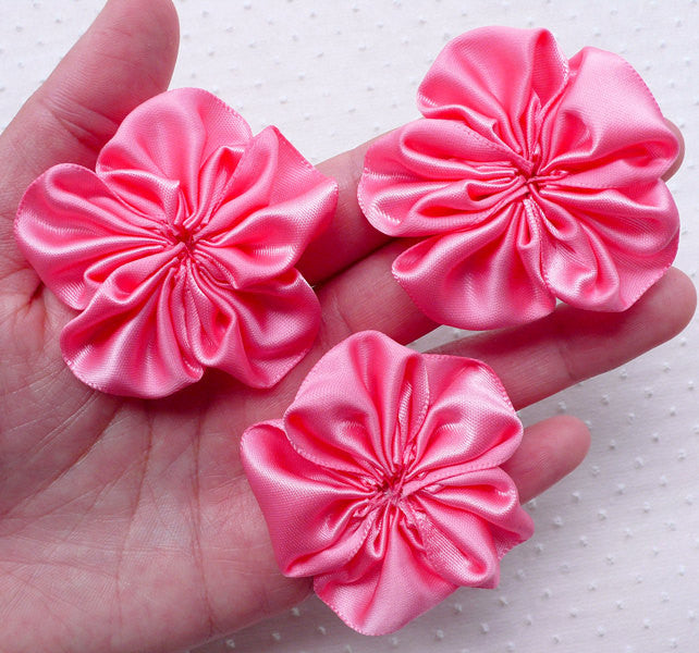 Ruffle Fabric Floral Applique / Satin Ribbon Flowers (3pcs / 5.5cm / Coral Pink) Bridal Hair Flower Headband Hairbow Card Embellishment B179