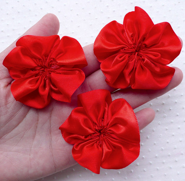 Flower Applique / Satin Ribbon Ruffle Flowers / 5 Petals Fabric Flower (3pcs / 5.5cm / Rose Red) Bridal Headbands Wedding Card Making B183