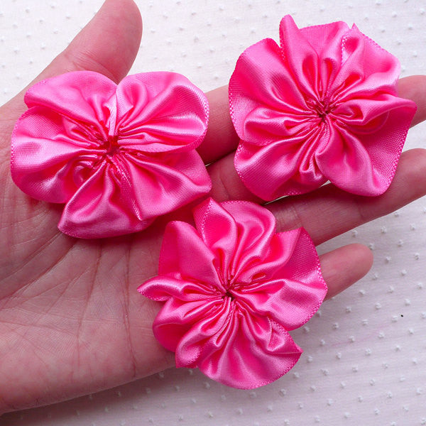 Pink Fabric Flowers / Satin Ribbon Ruffle Floral Applique (3pcs / 5cm) Toddler Headbands Newborn Hair Bows Girl Hair Accessories Making B186