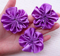 Satin Ribbon Flowers / Fabric Ruffle Floral Applique (3pcs / 5.5cm / Purple) Baby Flower Head Bands Hairbows DIY Floral Brooch Making B173