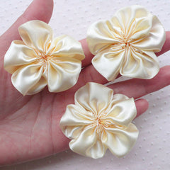 Cream Satin Ribbon Flowers / Fabric Ruffle Flower Applique (3pcs / 5.5cm / Cream White) Baby Floral Hairbows Wedding Headbands Making B176