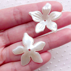 Ivory Flower Cap / Acrylic Flower Beads / Flower Pearl / Flower Cup / ABS Petal Cabochon (12pcs / 28mm / Cream White) Hairbow Center PES99