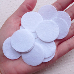 1.2 inch Felt Circle / 30mm Felt Circle / 3cm Felt Circle (20pcs / White) Round Appliques Fabric Flower Hair Bows Headbands Backing F320
