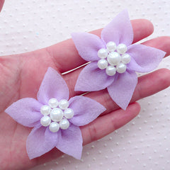 Gauze Flowers with Pearl Center / Mesh Fabric Flower / Tulle Floral Applique (2pcs / 5cm / Purple) DIY Baby Hair Bows Toddler Headbands B189