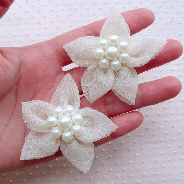 Tulle Flower Applique / Mesh Fabric Flowers with Pearl Center / Gauze Flower (2pcs / 5cm / Cream White) Bridal Hair Bows Baby Headbands B193