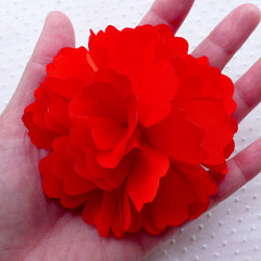 Large Satin Flower Applique / Big Fabric Flowers (1 piece / 9cm / Red) Wedding Decoration Bridal Baby Hair Bows Toddler Headband Making B194