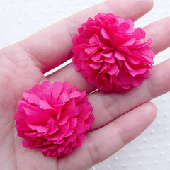 Pom Pom Flower / Fringe Fabric Chrysanthemum / Dahlia Floral Applique (2pcs / 3.5cm / Dark Pink) Headband Hair Clip Floral Jewellery B196