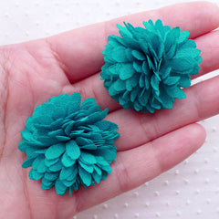 Dahlia Flower / Fringe Fabric Pom Pom / Chrysanthemum Floral Applique (2pcs / 3.5cm / Teal Blue Green) Hairclip Hair Flower Shoe Clip B198