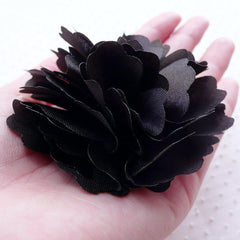 Black Satin Flower Applique / Black Fabric Flowers (1 piece / 8cm) Toddler Hairbows Baby Headband Hair Flower Making Floral Decoration B205