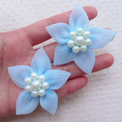 Mesh Floral Applique / Gauze Fabric Flowers with Pearl Center / Tulle Flower (2pcs / 5cm / Baby Blue) Toddler Hair Flower Head Bands B191