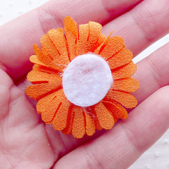 CLEARANCE Pom Pom Fabric Flowers / Dahlia Puff Flower / Chrysanthemum Applique (2pcs / 3.5cm / Orange) Boutonniere Making Floral Embellishment B199