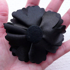 Black Satin Flower Applique / Black Fabric Flowers (1 piece / 8cm) Toddler Hairbows Baby Headband Hair Flower Floral Decoration B205