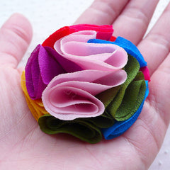 Colorful Puff Flowers / Fabric Floral Applique (2pcs / 5cm) DIY Wedding Bouquets Boutonniere Lapel Flower Hair Bows Headbands Hairclip B206