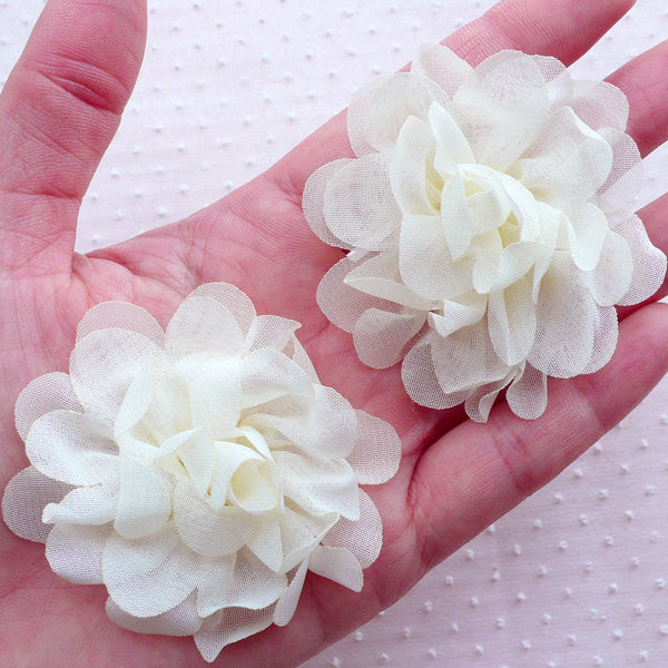 White Chiffon Flower / Puff Peony / Fabric Floral Applique (2pcs / 5.5cm / Cream White) Wedding Bouquet Bridal Headbands Baby Hair Bows B211