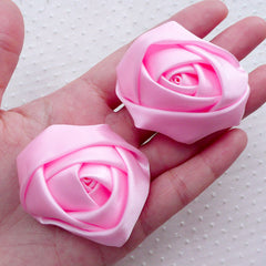 Pink Rose Flower / Fabric Satin Ribbon Rose Applique (2pcs / 5.5cm / Baby Pink) DIY Floral Brooch Rose Headband Hairbow Wedding Bouquet B216