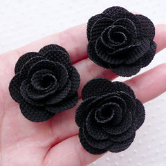 Rose Floral Applique / Fabric Flowers (3pcs / 3.5cm / Black) Rose Earrings Lapel Flower Hair Clip Floral Jewellery Making Scrapbooking B218