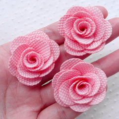 Rose Flower Applique / Fabric Flowers (3pcs / 3.5cm / Pink) Baby Floral Hair Bows Bridesmaid Headband Earrings Toddler Hair Clip Making B210