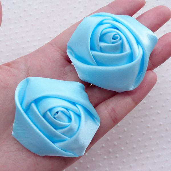 Satin Ribbon Rose Flower / Fabric Rose Applique (2pcs / 5.5cm / Baby Blue) Floral Headbands Boutonniere Brooch Rose Hair Bows Making B215