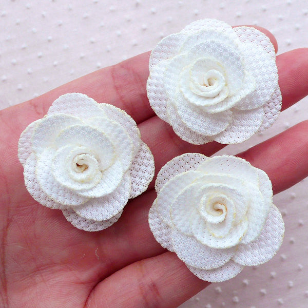 Fabric Rose Flowers / Floral Applique (3pcs / 3.5cm / Cream White) Rose Lapel Flower Hairclip Floral Earrings Wedding Jewelry Making B219