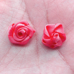 Small Satin Rose Bud / Little Rose Floral Applique / Fabric Rose Flowers (8pcs / 1.5cm / Coral Pink) Floral Decoration DIY Hairclip B221