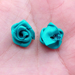 Small Fabric Rose Flower / Little Satin Rose Bud / Rose Floral Applique (8pcs / 1.5cm / Teal Blue Green) Floral Scrapbook Sewing Supply B222