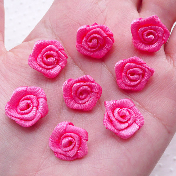 Little Rose Applique / Small Satin Rose Bud / Fabric Satin Ribbon Flower (8pcs / 1.5cm / Hot Pink) Floral Scrapbooking DIY Lapel Pin B227