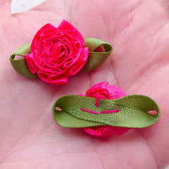CLEARANCE Fabric Flower with Leaf / Satin Ribbon Flower Applique (4pcs / 3cm / Dark Pink) Card Embellishment Floral Scrapbooking Sewing Supplies B228