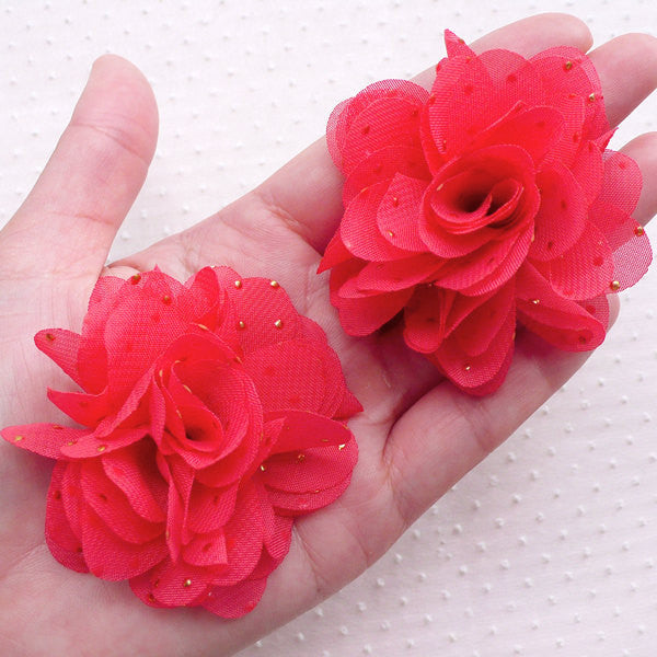 Red Chiffon Flower with Golden Dot / Fabric Floral Applique / Puff Flowers (2pcs / 6cm / Light Red) Ballerina Flower Headbands Hair Bow B230