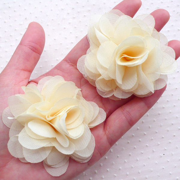 Cream White Chiffon Flower / Fabric Puff Floral Applique (2pcs / 6cm) DIY Wedding Bouquet Bridal Headbands Bridesmaid Hair Bows Brooch B231