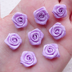 Small Rose Floral Applique / Little Fabric Rose Flower / Satin Ribbon Rose Bud (8pcs / 1.5cm / Light Purple) Rose Scrapbook Card Making B224