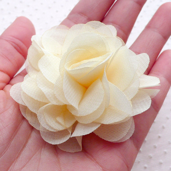 SUPVOX 20pcs Chiffon Flowers with Rhinestones Flowers Embellishments Hair Accessory for DIY Crafts Sewing Headbands Party Favors 4cm Beige