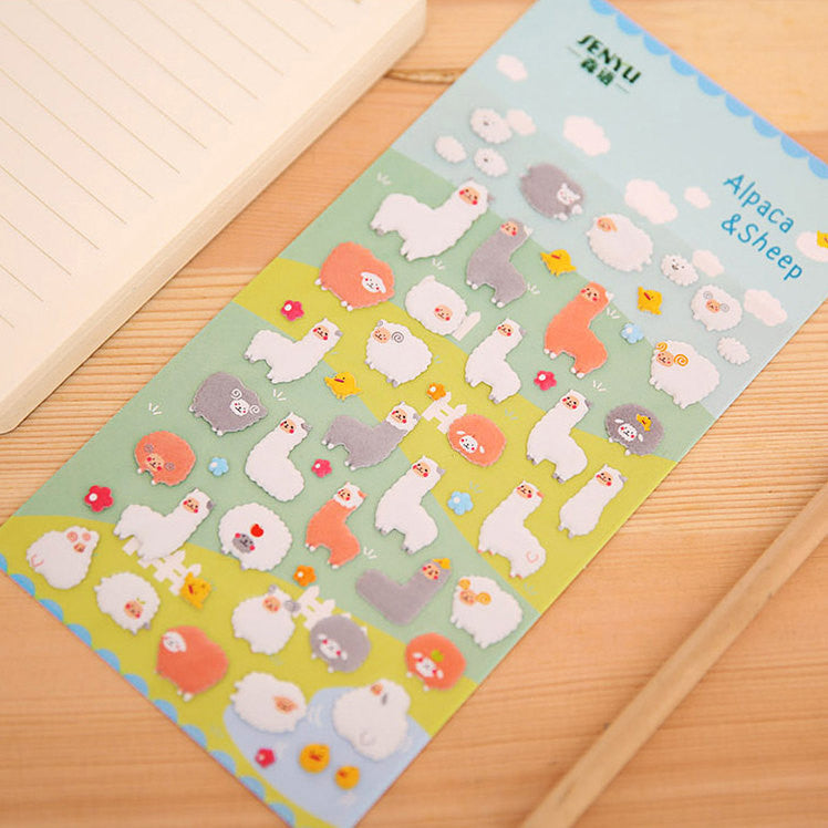 Alpaca and Sheep Puffy Sticker (1 Sheet) Kawaii Animal Scrapbooking Gift Wrap Packaging Diary Deco Collage Card Making Party Decoration S287