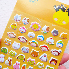 Cute Animal Zoo Puffy Sticker (1 Sheet) Cat Duck Monkey Dog Frog Rabbit Bear Fox Pig Sheep Racoon Scrapbook Diary Deco Card Making S288