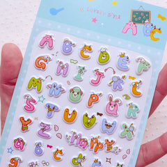 Alphabet Puffy Sticker / English Letters Sticker (1 Sheet) Scrapbooking Journal Deco Diary Decoration Card Embellishment Home Decor S294