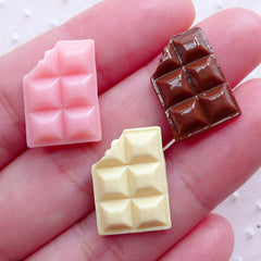 Kawaii Cabochon Chocolate Bar (3pcs / 13mm x 17mm / Pink, Brown & Cream / Flatback) Dollhouse Food Fake Sweets Decoden Phone Case FCAB083