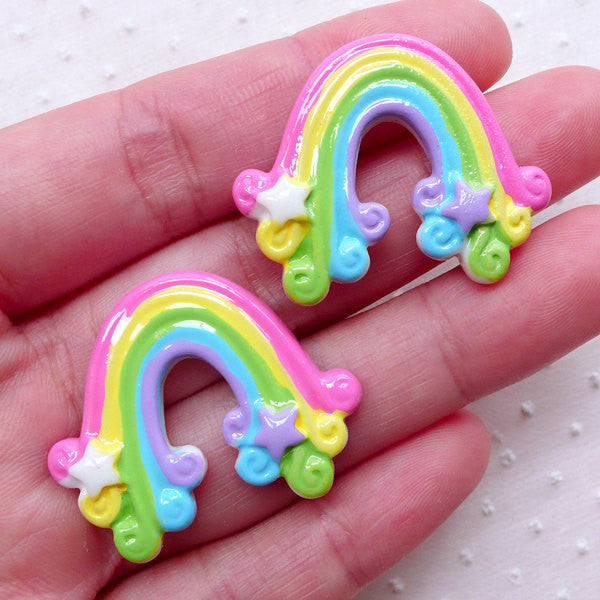 Kawaii Rainbow Cabochon with Star (2pcs / 37mm x 30mm / Colorful / Flat Back) Cute Decoration Scrapbooking Decoden Whimsical Jewelry CAB377