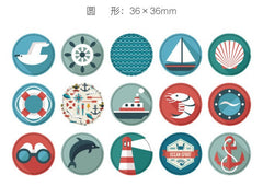 CLEARANCE Nautical Sticker / Boat Anchor Ship Wheel Lighthouse Marine Life Sticker (45pcs) Seal Label Favor Packaging Home Decor Party Decoration S303