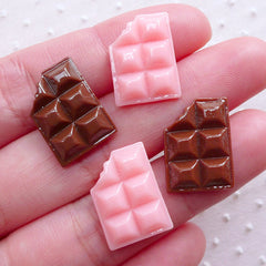 Dollhouse Chocolate Bar Cabochon (4pcs / 13mm x 17mm / Flat Back) Miniature Sweets Whimsical Jewelry Kitsch Scrapbook Kawaii Decoden FCAB293