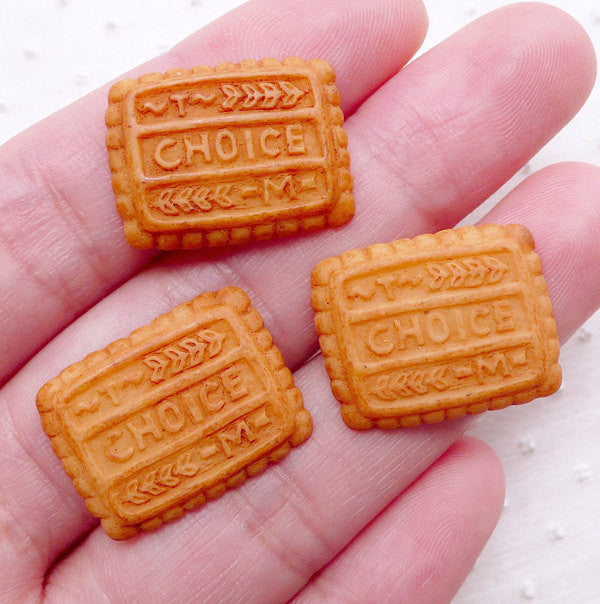 Fake Cookie Cabochons / Choice Biscuit Cabochon (3pcs / 20mm x 16mm / Flat Back) Kawaii Miniature Sweets Decoden Faux Food Jewelry FCAB183