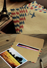 "Air Mail Envelopes (10pcs / Kraft Paper) (17.5cm x 12.5cm / 6.9"" x 4.9"") Square Flap Party Invitations Greeting Card Announcements S309"