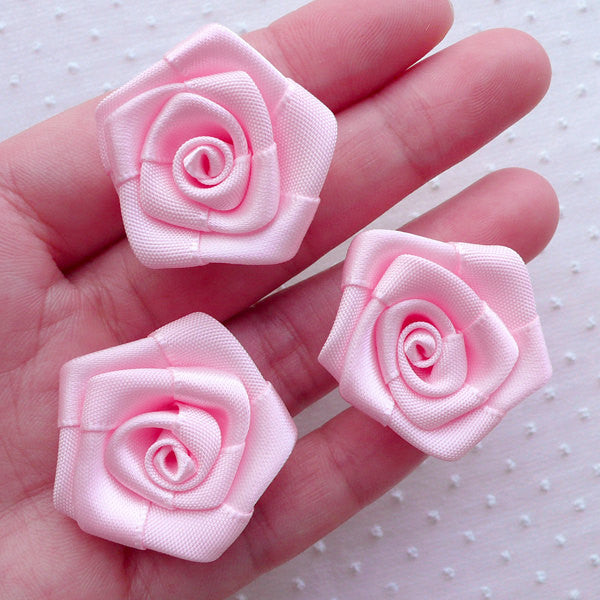 CLEARANCE Satin Ribbon Rose Flowers / Fabric Floral Applique (3pcs / 3cm / Pink) Wedding Bouquet Rose Lapel Pin DIY Floral Headbands Hair Bows B234