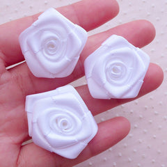 Fabric Rose Applique / Satin Ribbon Flowers (3pcs / 3cm / White) Wedding Bouquet Boutonniere DIY Baby Headbands Bridal Floral Hair Bows B235