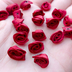 Tiny Rose Flowers / Mini Fabric Rose Bud / Satin Ribbon Floral Applique (20pcs / 8mm / Wine Red) Floral Embellishment Sewing Supplies B236
