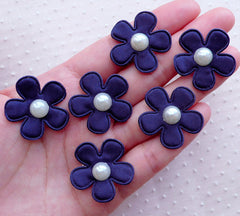 Daisy Applique / Satin Flowers with Pearl / Fabric Floral Applique (6pcs / 27mm / Navy Blue) Gift Decoration Favor Packaging Scrapbook B245
