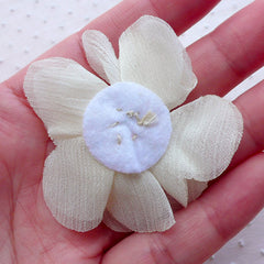 Chiffon Flower with Pearl & Gem / White Puff Flower Applique / Fabric Floral Applique (2pcs / 5.5cm / Cream White) Headbands Hair Bows B246