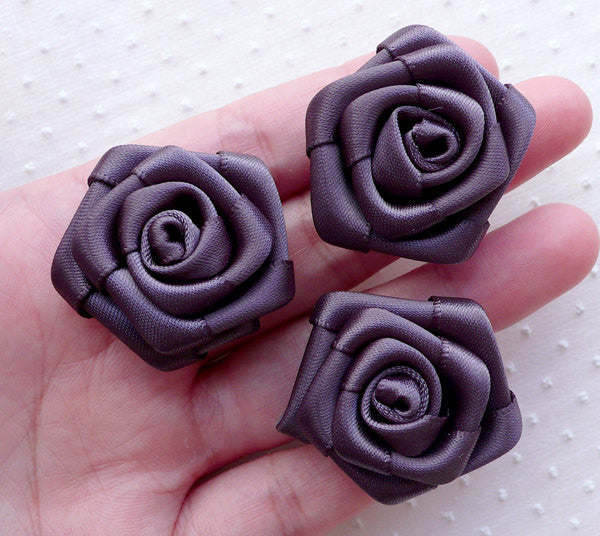 Fabric Rose Flowers / Satin Ribbon Floral Applique (3pcs / 3cm / Grey Gray) Flower Lapel Pin Making Headband Hair Bows Embellishment B233